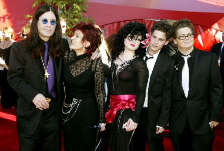 Musician Ozzy Osbourne (L) arrives with his family for the 54th annual Emmy