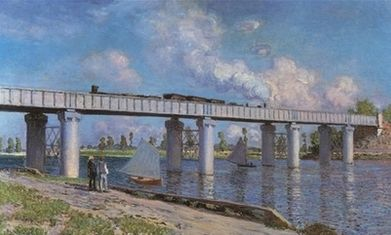 This photo provided by Christie's auction house in New York shows Claude Monet's 1873 painting 'Le Pont du chemin de fer a Argenteuil' (The Railway Bridge at Argenteuil).