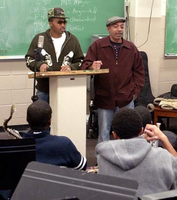 Legendary jazz musician olu dara right and his son hip hop star