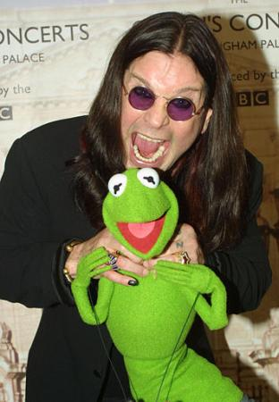Ozzy Osbourne and Kermit the frog are shown backstage in the gardens of Buckingham Palace Monday June 3, 2002, for the second concert to commemorate the Golden Jubilee of Britain's Queen Elizabeth II. Photo by Peter Jordan
