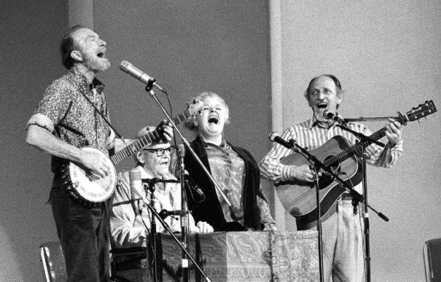 In this Nov. 28, 1980, file photo, the Weavers perform in a 25th Anniversary reunion concert at Carnegie Hall in New York. From left are: Pete Seeger, Lee Hays, Ronnie Gilbert and Fred Hellerman. Hellerman died Thursday, Sept. 1, 2016 at his home in Weston, Conn., after a lengthy illness, his son Caleb Hellerman said. He was 89. Photo byRichard Drew